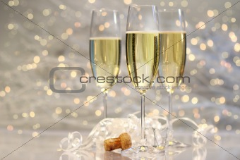 Threes glasses of champagne