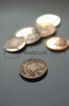 Small money change on grey