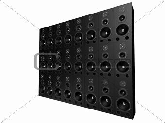 black speaker wall