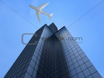 business tower and plane