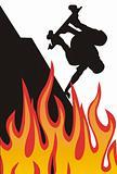 Sillhouette skater on fire