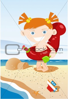 Kid on the beach - vector