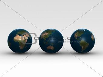 three little globes