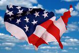 USA map outline with a flag photo illustration