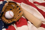 Baseball glove,bat and ball