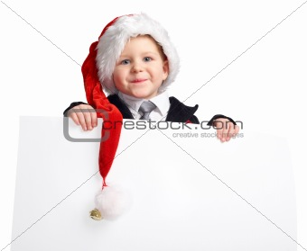 Little Santa helper with banner.