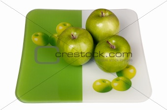 Green and fresh apples