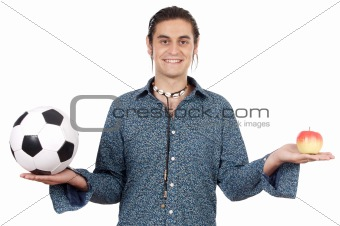 young with soccer ball and apple