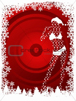 Abstract vector of Christmas girl background in red