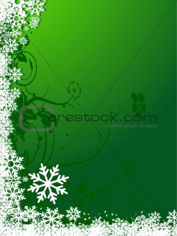 Abstract vector white snowflakes background in green