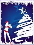 Christmas tree with girl background in blue