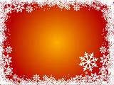 Red winter background with snowflakes