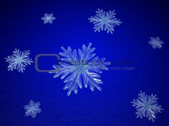 crystal snowflakes in blue