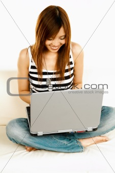 Asian girl with laptop