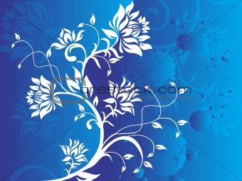 Abstract vector grunge flower on blue background