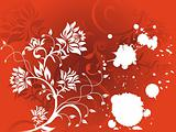 Abstract vector grunge flower on red background