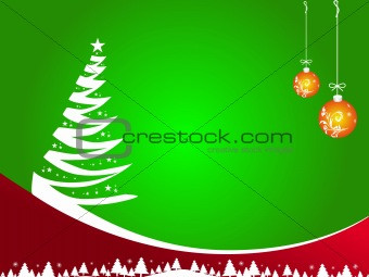 Abstract vector of green winter background with Christmas tree