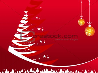 Abstract vector of red winter background with Christmas tree