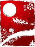 Christmas on red background with flying Santa Claus