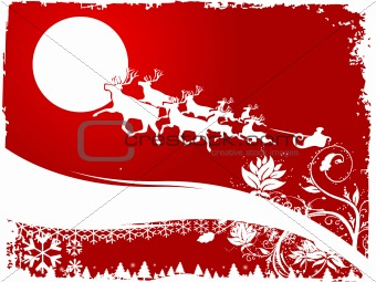 The reindeer pulling Santa's sleigh background