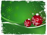 Vector christmas bulbs with snowflakes on green background