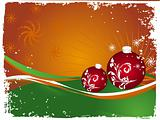 Vector christmas bulbs with snowflakes on orange background