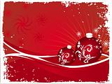 Vector christmas bulbs with snowflakes on red background