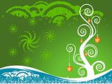 Vector christmas decoration on green background