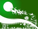 Vector Santa Claus goes with gifts on reindeers illustration background