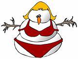 Snow Woman In A Bikini