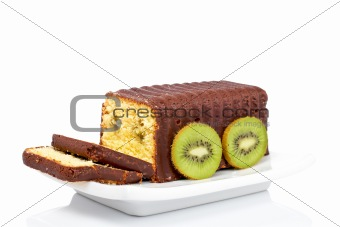 Slices of cake with kiwi