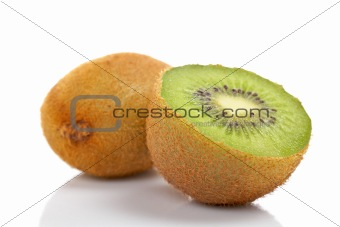 Two half of kiwi fruit