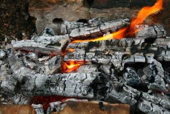 Flame on charcoal