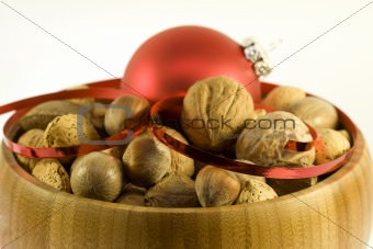 Bowl of nuts for christmas
