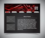 website template in black and red colors. Vector illustration.
