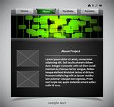 website template in black and green colors. Vector illustration.