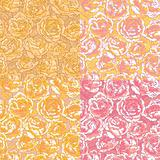 Set of four seamless pattern with pink roses