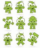funny green cartoons robot monster character set