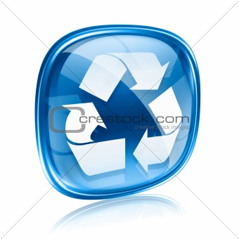 Recycling symbol icon blue glass, isolated on white background.