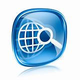 globe and magnifier icon blue glass, isolated on white backgroun