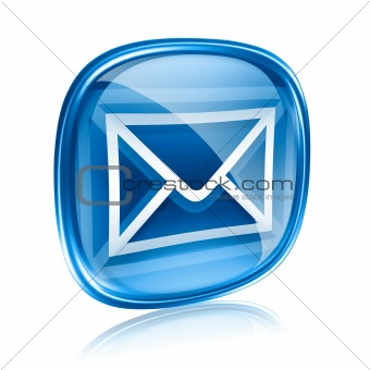 envelope icon blue glass, isolated on white background