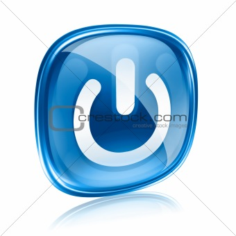power icon blue glass, isolated on white background.