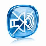 speaker off icon blue glass, isolated on white background.