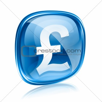 Pound icon blue glass, isolated on white background