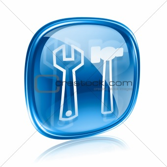 Tools icon blue glass, isolated on white background.