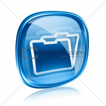 Folder icon blue glass, isolated on white background