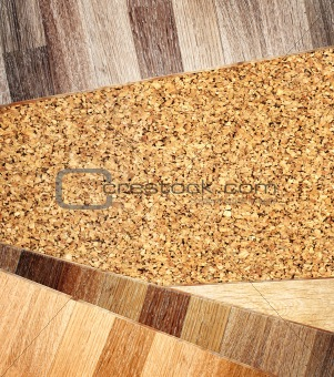 Oak parquet and cork flooring texture