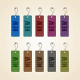 Set of colorful new tags. This vector image is fully editable.