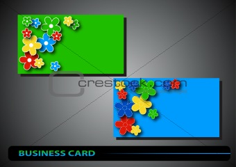 business card with color flowers