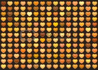 3d collection floating love heart in multiple orange on brown